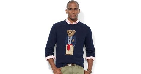 Bfs Sweater Hoodie Polos ralph crew neck intarsiaknit polo sweater in blue for lyst