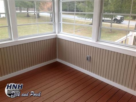 Screened porch with Eze Breeze panels, vinyl bead board