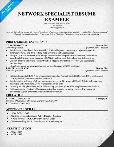 networking experience resume sles network specialist resume exle resumecompanion