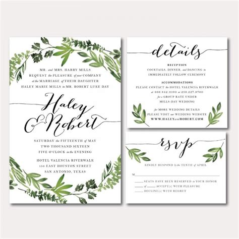 Wedding Invitations Printable by Printable Wedding Invitation Suite Botanical Wreath