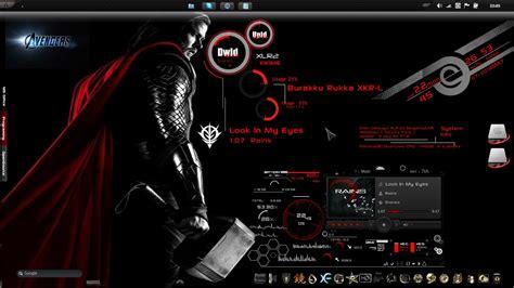 theme for windows 7 avengers project avengers thor rainmeter skins