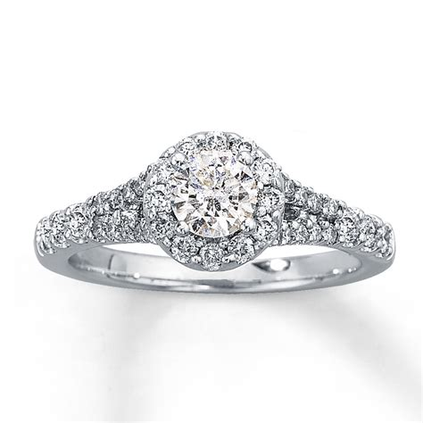 engagement ring 1 ct tw cut 14k white gold