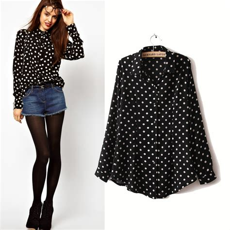 Pb8 Polkadot Blouse blusas femininas 2015 casual blouses sleeve black white polka dot chiffon shirt