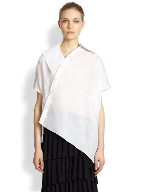 Blouse Asymmetric junya watanabe linen asymmetrical blouse in white lyst