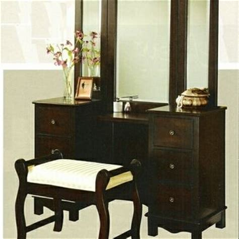 espresso bedroom vanity set 3 pc espresso finish wood large size from amb furniture