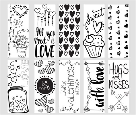 printable bookmarks to colour valentine printable coloring page bookmarks cute ideas