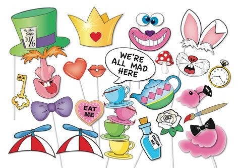 Hearts And Stars Kitchen Collection mad hatters tea party photo booth props set 33 piece