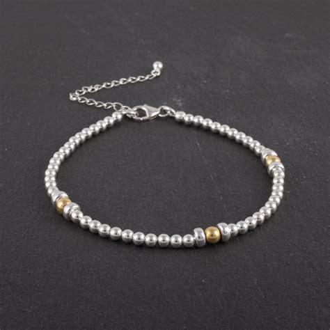 925 Sterling Silver Beaded 925 sterling silver and gold bracelet with clasp