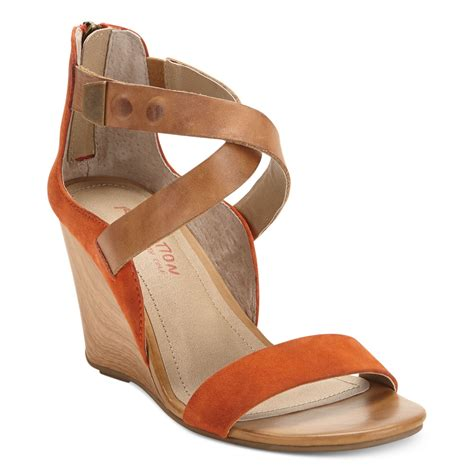 kenneth cole reaction wedge sandals kenneth cole reaction oh wedge sandals in orange lyst