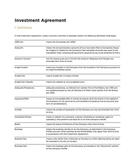 investment agreement template sle business investment agreement 8 documents in pdf