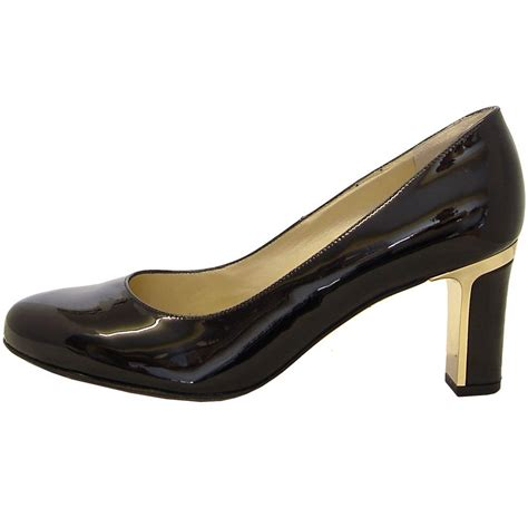 black patent shoes kaiser koli black patent classic mid heel court shoes