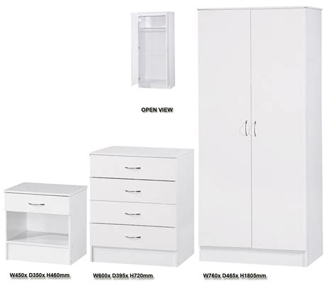 White Bedside Cabinets Sale White Gloss 3 Bedroom Set Wardrobe Chest Of Drawers
