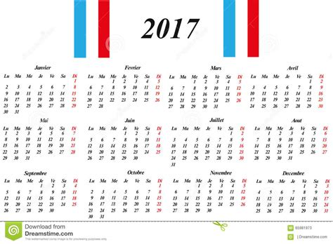 french calendar 2017 stock vector image 65981973