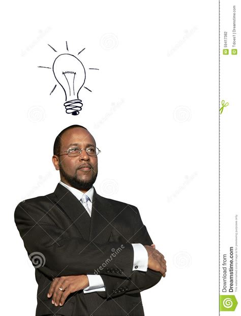 african american man piggytails african american business man w great idea stock photo