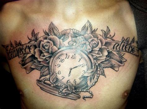 tattoo chest clock clock chest tattoo by cherub tattoo