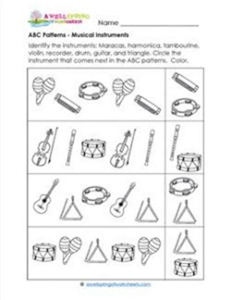 pattern songs for kindergarten abc patterns musical instruments theme patterns worksheets