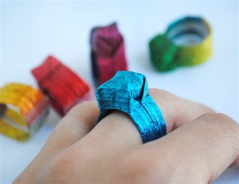 Origami Crafts - zakka craft origami paper ring