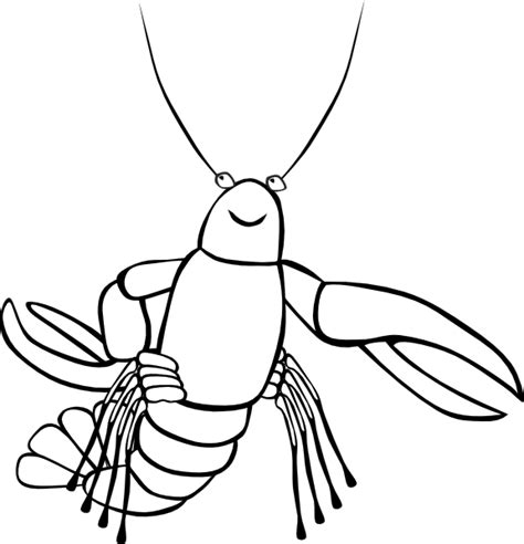 Crawfish B And W Clip Art At Clker Com Vector Clip Art Crayfish Coloring Page