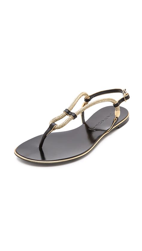 black and gold flat shoes lyst casadei flat sandals black gold in black