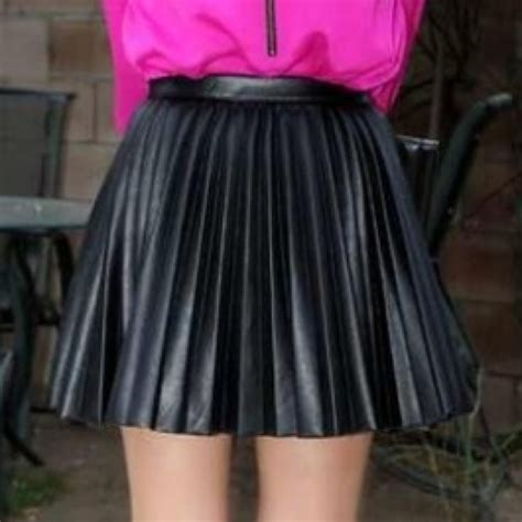 h m h m pleated leather look skirt from shana s closet