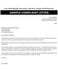 Sle Letter For Service Complaint Formal Complaint Letter Format Sle 100 Images Business