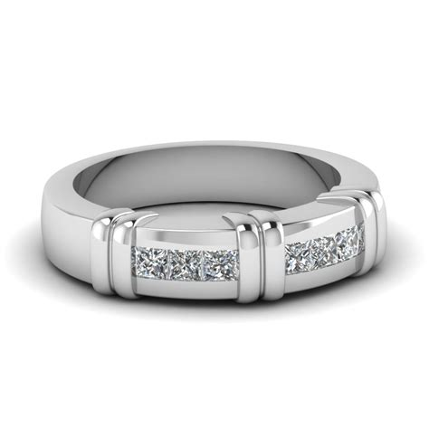 white gold princess white mens wedding ring in