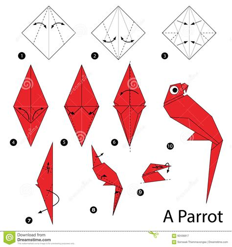 Origami Parrot Step By Step - step by step how to make origami a parrot