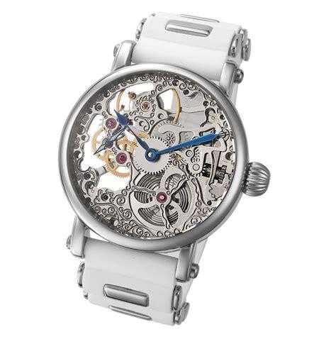 Rolex Skeleton Number White rougois mechanique silver tone skeleton white silicone band