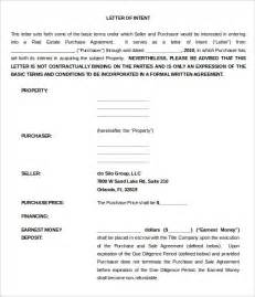 Letter Of Intent To Purchase Goods Doc 11 Purchase Letter Of Intent Templates Free Sle