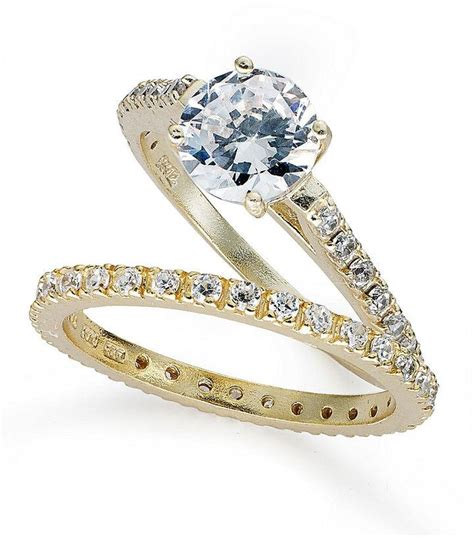 b brilliant 18k gold sterling silver rings set