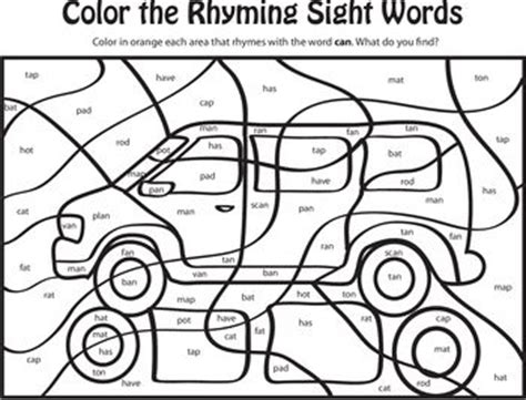 coloring pages rhyming words learning rhyming words can colors sight words and learning