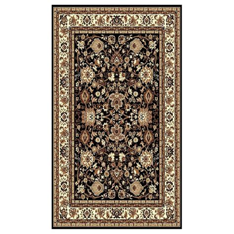 area rugs 5x8 donnieann 174 5x8 tajmahal area rug black beige 215434 rugs at sportsman s guide