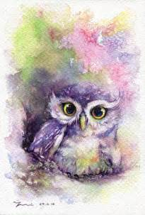 water color owl print rainbow owl watercolor painting 7 5 x 11