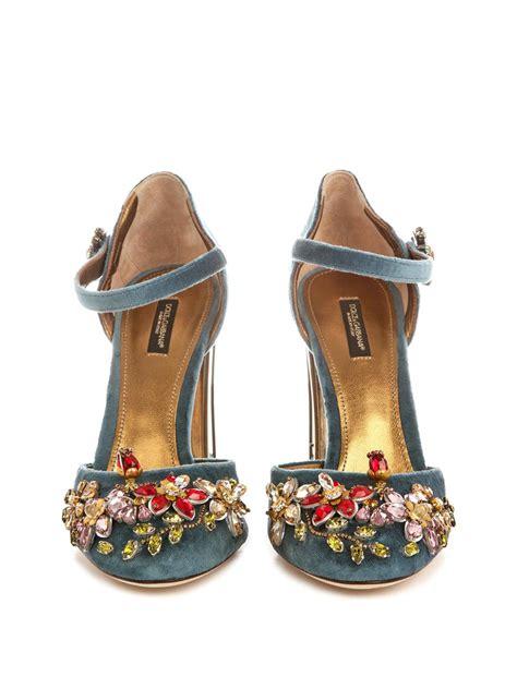 dolce and gabbana shoes lyst dolce gabbana embellished velvet cage heel pumps