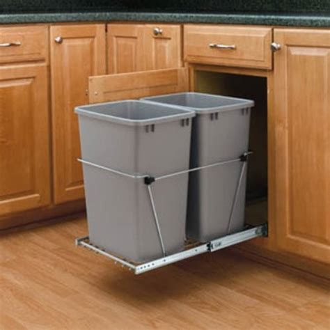 pull out trash garbage can waste container kitchen cabinet rev a shelf double pull out full extension slides chrome