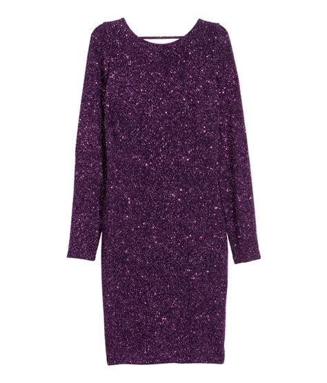 h m draped dress h m draped glittery dress in purple lyst