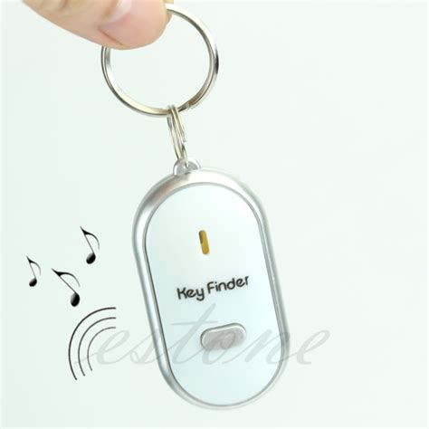 Find Lost Free Free Shipping White Led Key Finder Locator Find Lost Chain Keychain Whistle Sound