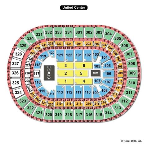 united seating chart united center chicago il seating chart view
