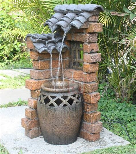 Diy Design Outdoor Fountains Ideas Rustic Water Fountains For Landscaping Eaved Clay Pots Water Landscape Outdoor