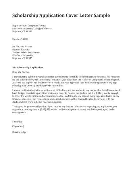 College Scholarships Cover Letter by Scholarship Coordinator Cover Letter Sle