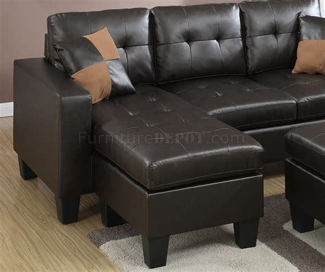 espresso leather sectional f6927 sectional sofa in espresso bonded leather by boss
