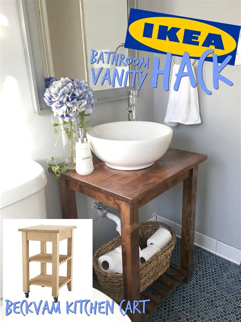 ikea hack bathroom vanity with bekvam kitchen cart the