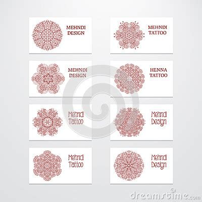 Free Mehndi Business Cards Template by Set Of Business Card Templates Mehndi Design Stock Vector