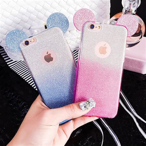 Kate Spade 2in1 926 3d mouse ears 2 in 1 soft tpu silicon glitter gradient color clear cover for iphone 5 5s se