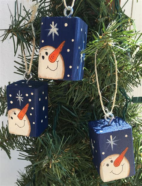 snowman christmas tree ornaments set of 3