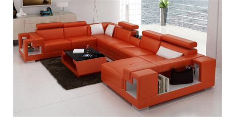 6138 orange and white leather sectional sofa by vig furniture