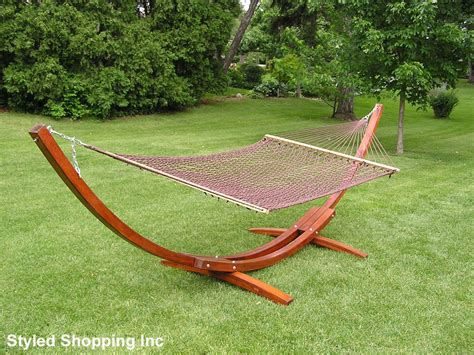 two person hammock with stand deluxe wood arc two person wood hammock stand brown rope hammock set ebay