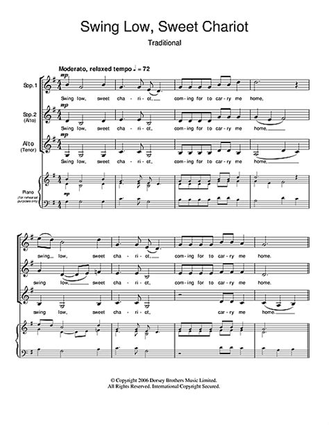 swing low sweet chariot chords piano traditional swing low sweet chariot sheet music