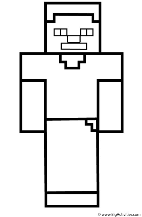 minecraft steve coloring pages free steve coloring page minecraft