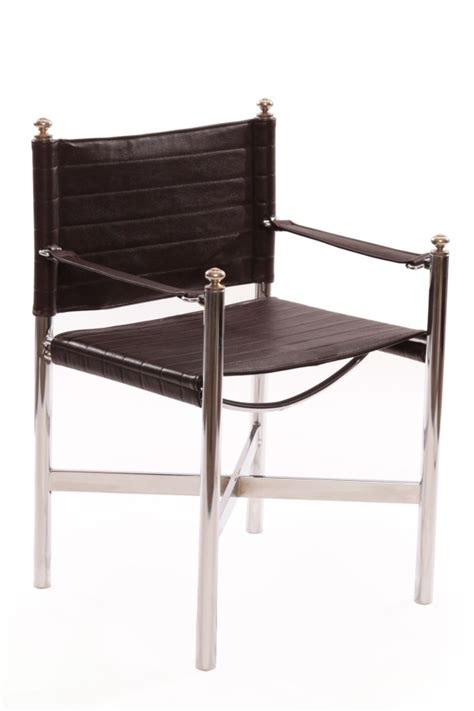 Chrome Chair by Seventies Leather Chrome Decorative Sling Chairs